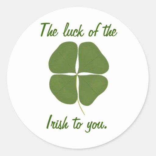 Het geluk van de Ieren aan u, klaverstickers Ronde Sticker