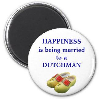 Het geluk wordt gehuwd aan een Nederlander Ronde Magneet 5,7 Cm