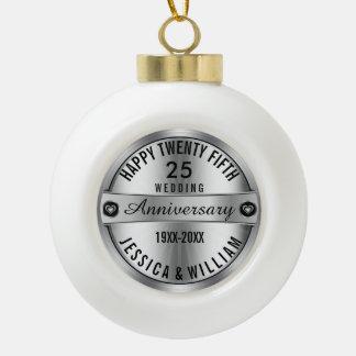 het gelukkige 25ste Zilver & de Diamanten van het Keramische Bal Ornament