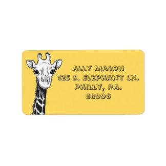 Het gelukkige Adresetiket van de Giraf Etiket