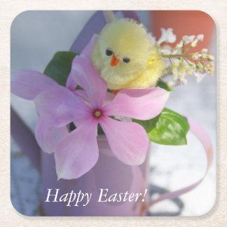 Het gelukkige BloemenPiepkuiken van Pasen Vierkante Onderzetter