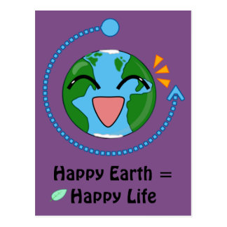 Het gelukkige Briefkaart van de Aarde (kies kleur)