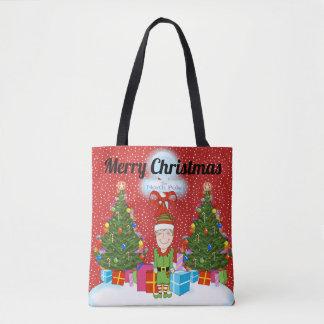 Het gelukkige Canvas tas van Kerstmis van het Elf