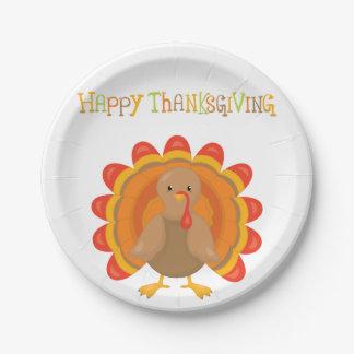 Het gelukkige Diner van Thanksgiving day Papieren Bordje