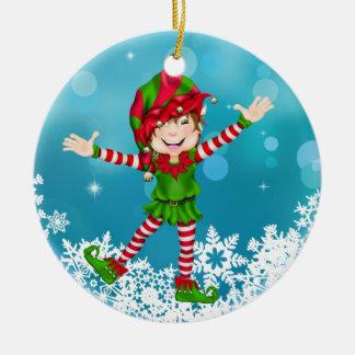 Het Gelukkige Elf van Kerstmis - SRF Rond Keramisch Ornament