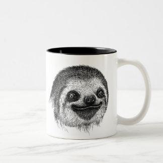 Het gelukkige Gezicht van de Luiaard Tweekleurige Koffiemok