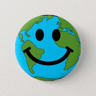 Het gelukkige Gezicht van Smiley van de Aarde Ronde Button 5,7 Cm