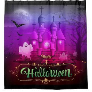 Het gelukkige Griezelige Spookhuis van Halloween Douchegordijn