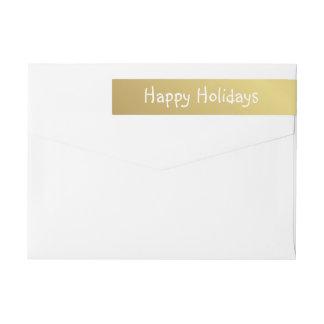Het gelukkige Hand-Printed Gouden Witte Van Omwikkelbaar Retourlabel