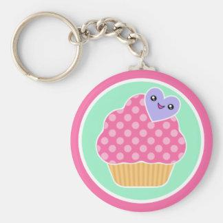 Het Gelukkige Hart Keychain van Cupcake van Kawaii Sleutel Hangers