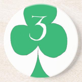 Het gelukkige Iers 3 van Clubs, tony fernandes Zandsteen Onderzetter