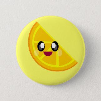 het gelukkige leuke gezicht van de kawaii oranje ronde button 5,7 cm
