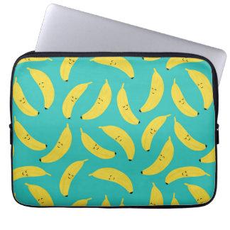 Het gelukkige Patroon van het Fruit van Bananen Laptop Sleeve