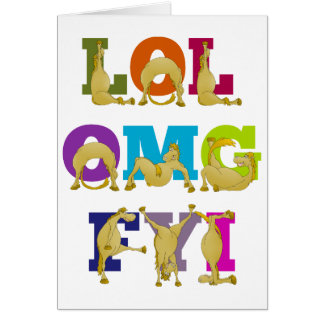 Het gelukkige pony LOL FYI OMG van Flexi van de Briefkaarten 0