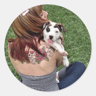 Het Gelukkige Puppy van de Rib van de Stier van de Ronde Sticker