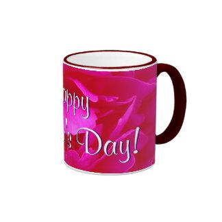 Het gelukkige Roze van het Moederdag nam I toe Mok Gekleurder Rand En Oor