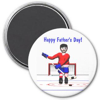 Het gelukkige Vaderdag van het Hockey Ronde Magneet 7,6 Cm