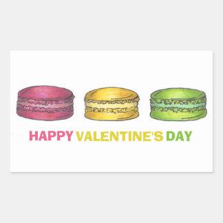 Het gelukkige Zoete Franse Koekje Macaron van de Rechthoekige Sticker