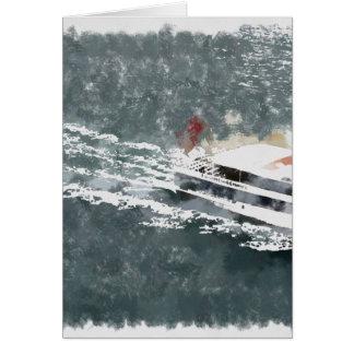 Het genieten van op een snelle boot wenskaart