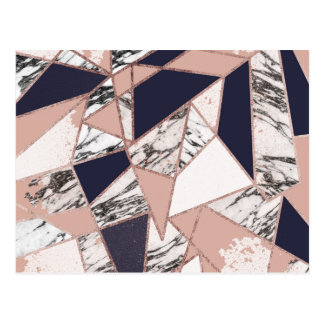 Het geometrische Marineblauwe Marmer van de Perzik Briefkaart