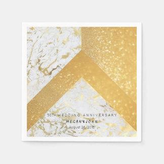 Het geometrische Marmeren HUWELIJK van het Witgoud Papieren Servet