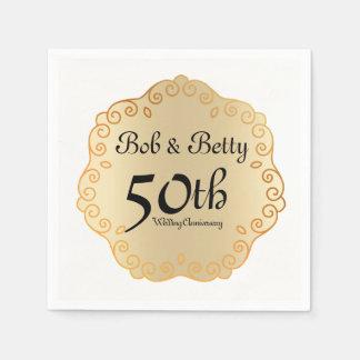 Het gepersonaliseerde 50ste Goud van het Jubileum Papieren Servetten