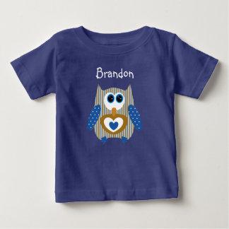 Het gepersonaliseerde Blauwe en Bruine Overhemd Baby T Shirts