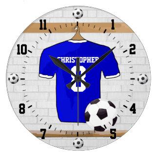 Het gepersonaliseerde Blauwe Witte Voetbal Jersey Grote Klok