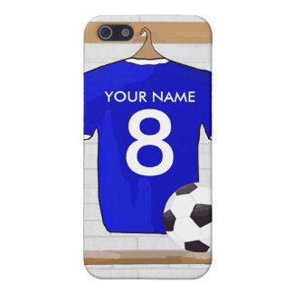 Het gepersonaliseerde Blauwe Witte Voetbal Jersey iPhone 5 Hoesje