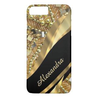 Het gepersonaliseerde elegante elegante zwarte en iPhone 8/7 plus hoesje