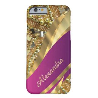 Het gepersonaliseerde elegante roze en gouden barely there iPhone 6 hoesje