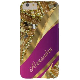 Het gepersonaliseerde elegante roze en gouden barely there iPhone 6 plus hoesje