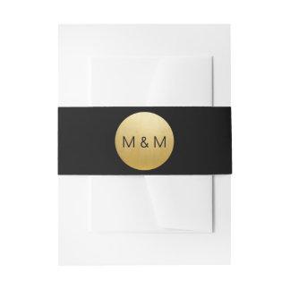Het gepersonaliseerde Elegante Zwarte & Gouden Uitnodigingen Wikkel