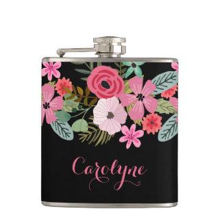 Het gepersonaliseerde fles bloemen zwarte roze heupfles