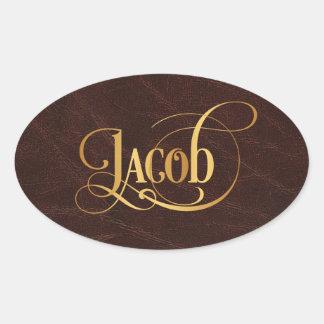 Het gepersonaliseerde Goud van Jacob van het Ovale Sticker