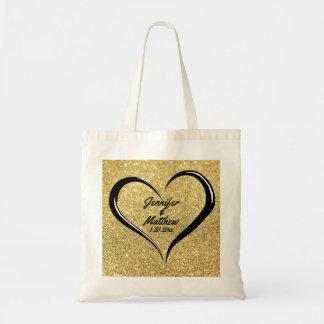 Het gepersonaliseerde Gouden en Zwarte Canvas tas