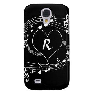 Het gepersonaliseerde hart van de Muzieknoten van Galaxy S4 Hoesje