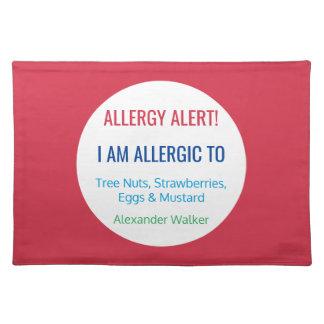 Het Gepersonaliseerde Kind van de Allergie van het Placemat