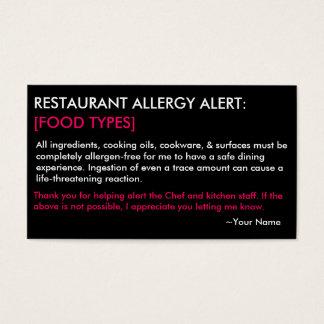 Het gepersonaliseerde Restaurant van de Allergie & Visitekaartjes