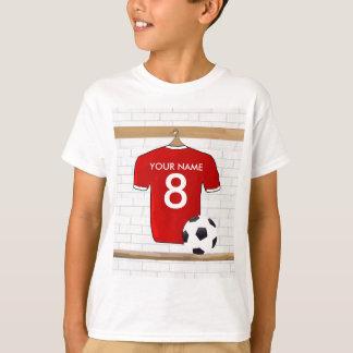 Het gepersonaliseerde Rode en Witte Voetbal Jersey T Shirt