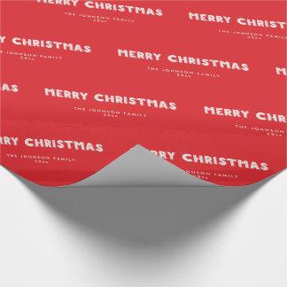 Het gepersonaliseerde Rode Vrolijke Verpakkende Cadeaupapier