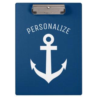 Het gepersonaliseerde zeevaart marineblauwe logo klembord