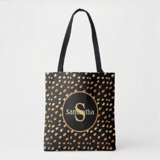 Het gepersonaliseerde Zwarte en Gouden Canvas tas