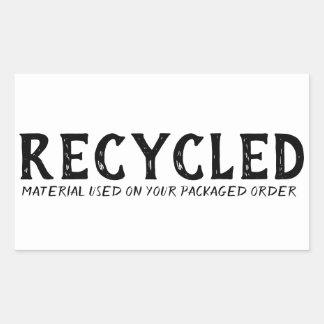 Het gerecycleerde Materiaal Gebruikte Verschepen Rechthoekige Sticker