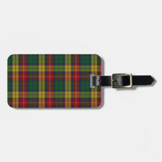 Het Geruite Schotse wollen stof van de Familie van Bagagelabel