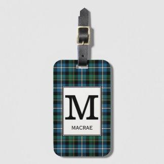 Het Geruite Schotse wollen stof van de Jacht van Bagagelabel