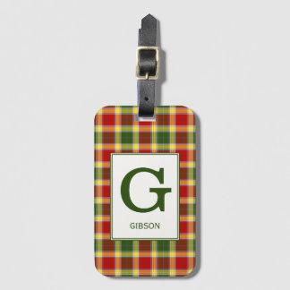 Het Geruite Schotse wollen stof van Gibbs van de Bagagelabel