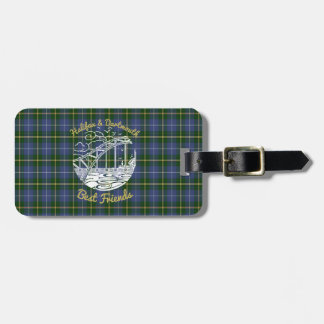 Het geruite Schotse wollen stof van het de Bagagelabel