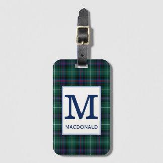 Het Geruite Schotse wollen stof van MacDonald van Bagagelabel