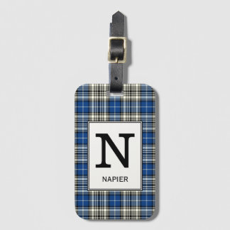 Het Geruite Schotse wollen stof van Napier van de Bagagelabel